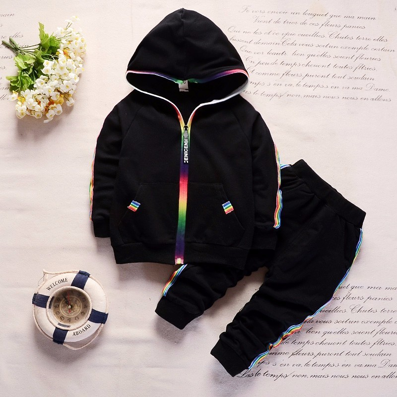Spring Autumn Baby Clothes Boys Girls Cotton Hooded Jacket Pants 2Pcs/Set Kids Fashion Suit  Infant Clothing Toddler Tracksuits