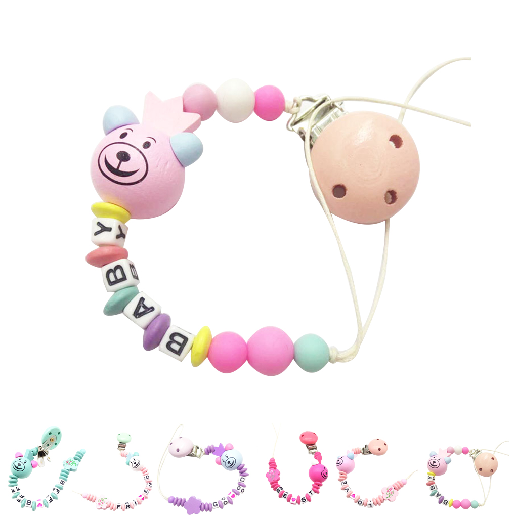Baby Silicone Teething Pacifier Clip Bead Infant Soother Nipple Strap Gift