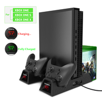 High quality Vertical Cooling Stand Cooler Charging Station for Xbox One X/XBOX ONE S/XBOX ONE X with 2 Rechargeable Battries