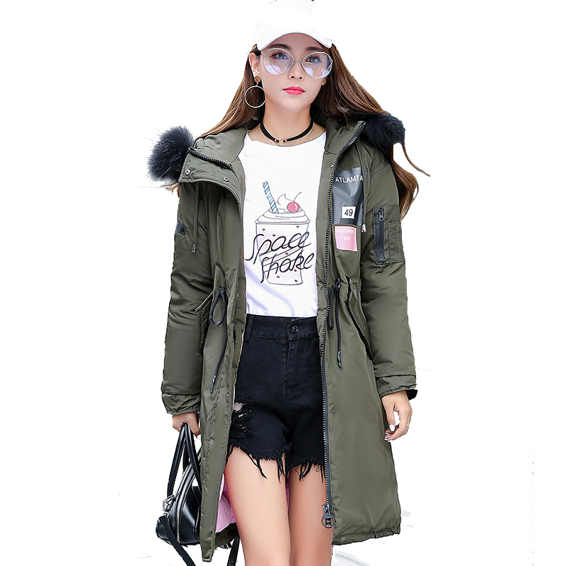 New 2017 Winter Jacket Women Big Fur Collar Hooded Long Coat Thicken Warm Parkas Adjustable Waist  Female Outerwea 2017 winter new clothes to overcome the coat of women in the long reed rabbit hair fur fur coat fox raccoon fur collar
