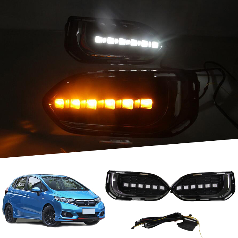 LED Daytime Running Lights For Honda Jazz Fit 2018 2019 DRL Fog Lamp Cover with Yellow Turning Signal Lights 2pcs led white yellow daytime running lights drl for honda fit jazz 2014 2015