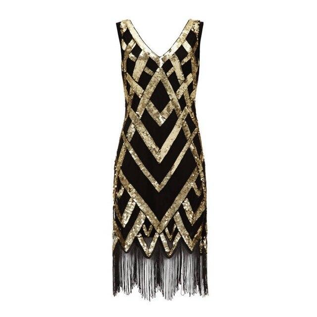 ed95f754b7472 Black And Gold 1920s Great Gatsby Dress Abiye Formal Evening Dresses For  Women Party Dresses Tassel Short Sequin Evening Dress