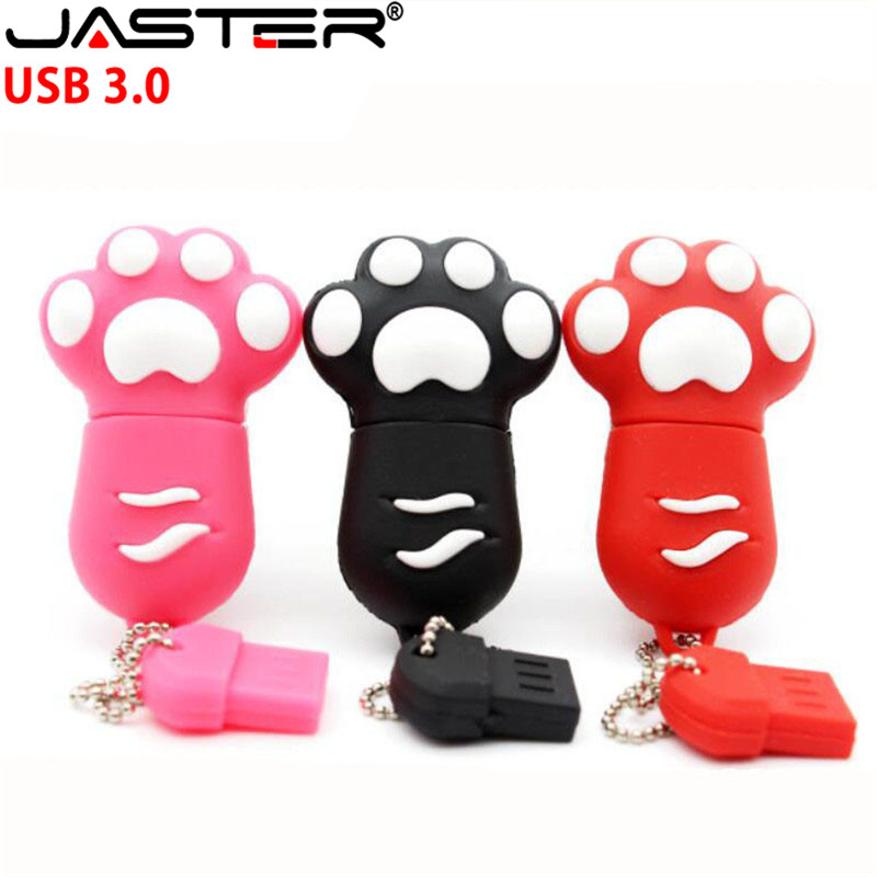 JASTER USB 3.0 Flash Drive Cartoon Cat Paw Pendrive Super-speed 64GB 32GB 16GB USB Memory Stick Gift Pen Drive
