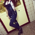 Goodbuy 2016 Mujeres Denim Monos Monos Sexy Jeans Agujero Ocasional Oficina de Bolsillo Lápiz Pantalones Otoño Femme Real Photo 0.6 KG