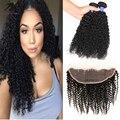 Cheia Do Laço Frontal Com Feixes Cabelo Virgem peruano afro crespo cabelos cacheados Com Fechamento 4 Bundles Cabelo Humano Tecem Com Rendas fechamento