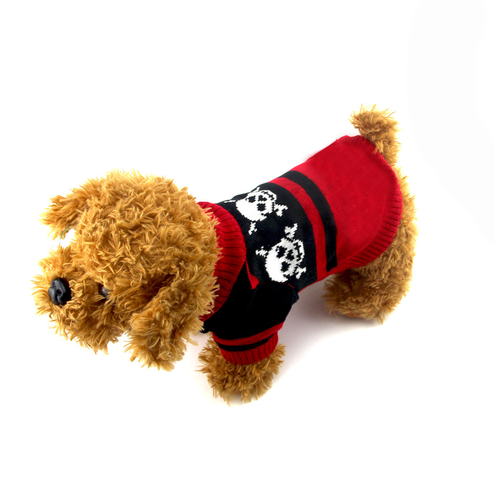 Small Dogs Costume Clothes For Little Dogs Overalls Cool And Cute Black And Red Skull Sweater Clothing Pet Cat Dog Costume