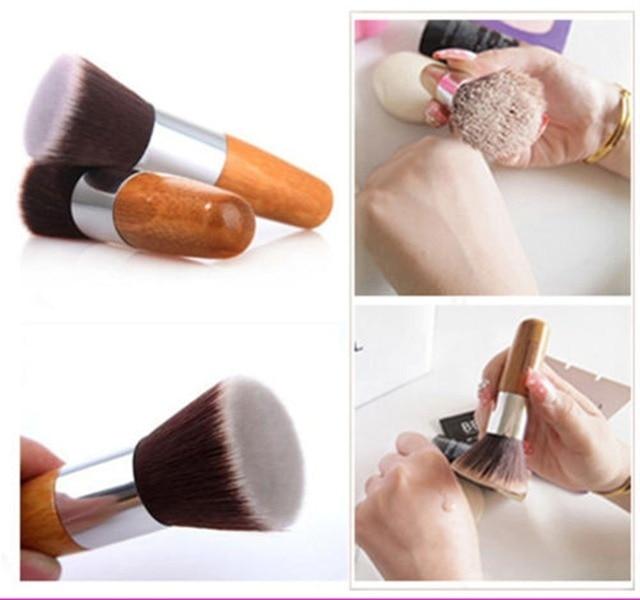 Profissional Pincel de Maquiagem Flat Top Pincel de Base Em Pó Escova beleza Escova Cosmética Make up brushesTool Kabuki Make-up Escova De Madeira