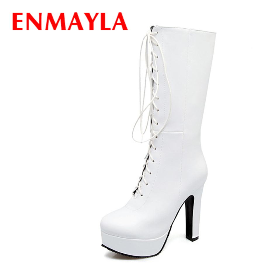 ENMAYLA Fashion British Style High Heels Platform Lace-up Half Boots Party Club Round Toe Shoes Woman Boots Plus Size 34-47 enmayla lace up mew ankle boots for women high heels wedges size 34 39 round toe autumn and winter boots platform shoes riding
