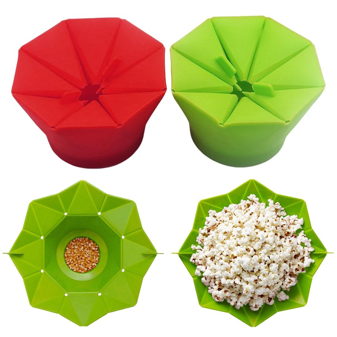 Попкорн Поппер чайник чаша DIY силиконовый контейнер для приготовления попкорна в микроволновой печи складной ведро красный зеленый кухонный инструмент