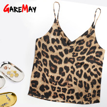 GareMay Top Women Camisole Leopard Print Casual Summer Streetwear Strap Silk Camisoles For Women Deep V Neck Halter Tops Vest(China)