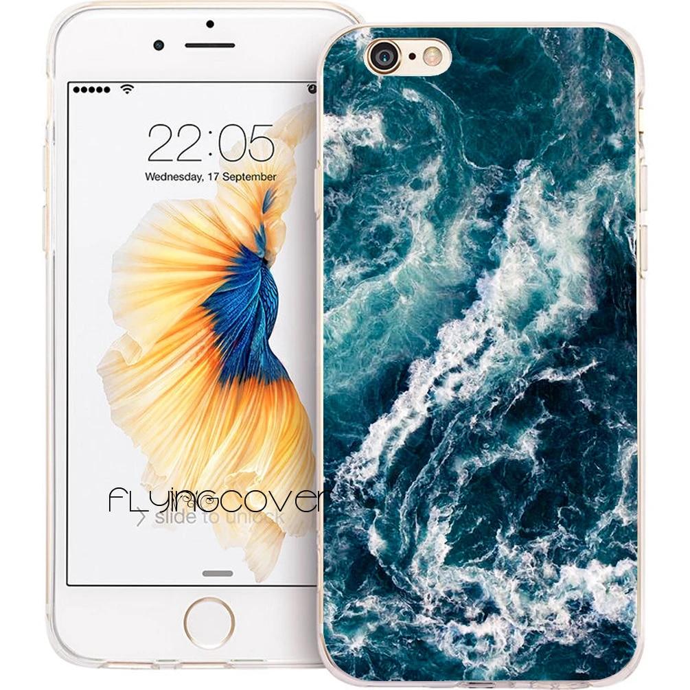Coque Vague Profonde Mer Bleue Claire Silicone Souple Téléphone étuis pour iphone XS Max XR 7 8 6 6 S Plus 5 S 5 SE 5C 4 S 4 iPod Touch 6 5 Couverture