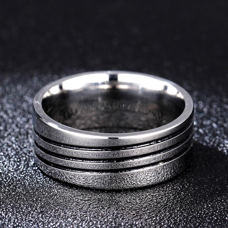 8mm tredobbelt lag Stripe ringe 316L rustfrit stål mænd finger ring - Mode smykker - Foto 4