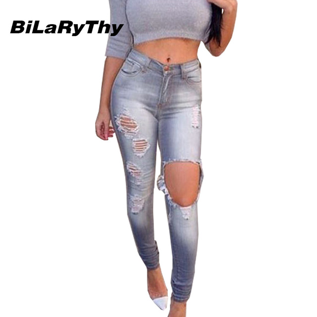 BiLaRyThy Casual Women Ladies Slim Fit Vintage Denim Pencil Pants Ripped Holes Elastic High Waist Jeans Trouser