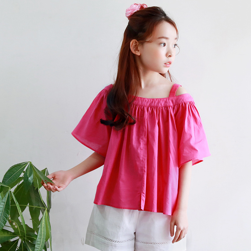 Cotton Teenage Little Girls Blouse Designs 2020 New Red Girls