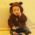Hot Infant coat coral velvet baby girl boy hooded jacket children snowsuit baby bear poncho winter coat newborn baby coat DSY206