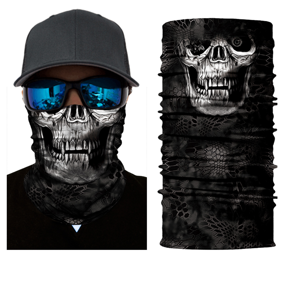 2017 New BJMOTO Tactical Black Skull Face Shield Sun Mask Balaclava Neck Gaiter