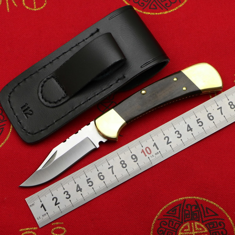 LOVOCOO Bu CK112 brass wooden handle 440C blade folding fruit knife hunting pocket outdoor EDC tool