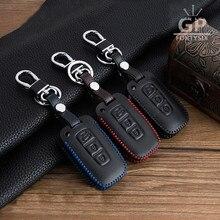 Leather Keychain Pouch For Kia Sportage K2 K5 Sorento Sportage R Soul Cadenza Leather Key Case 3 Button Leather Car Key Holder