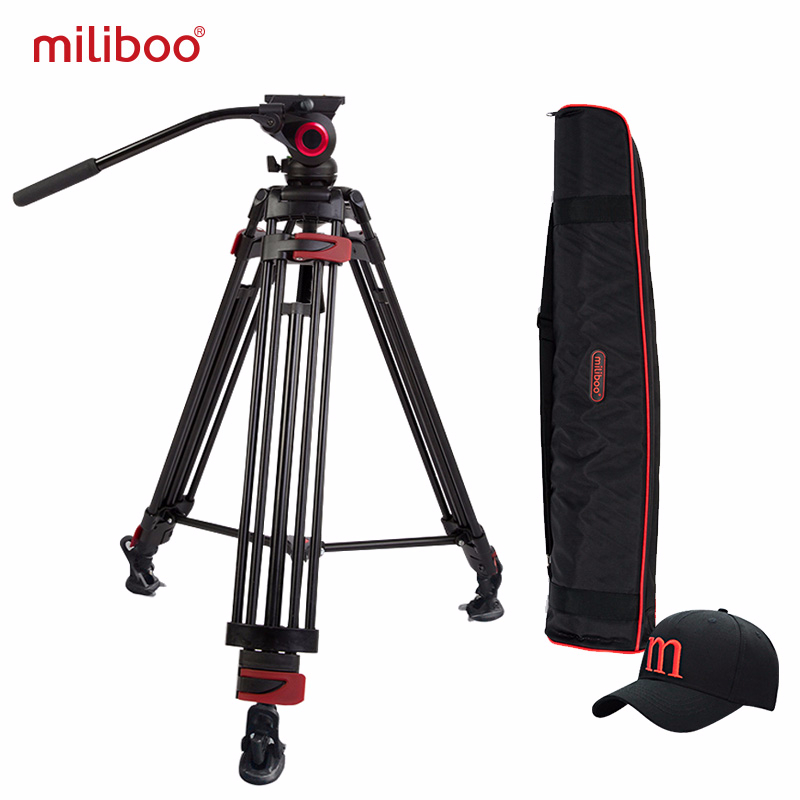 miliboo Iron Tower Professional Portable Video Tripod DSLR med hydrauliskt huvud / Digital DSLR-kamera Videokamera stativ stativ