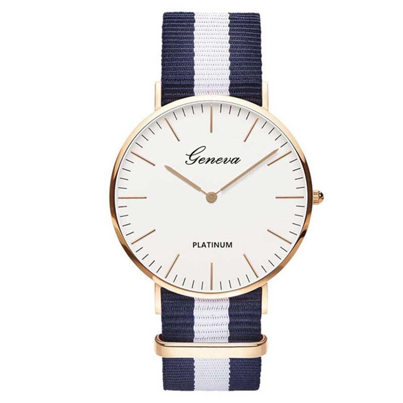 Uhr mit Nylon Band Quarz Frauen Uhr Top Marke