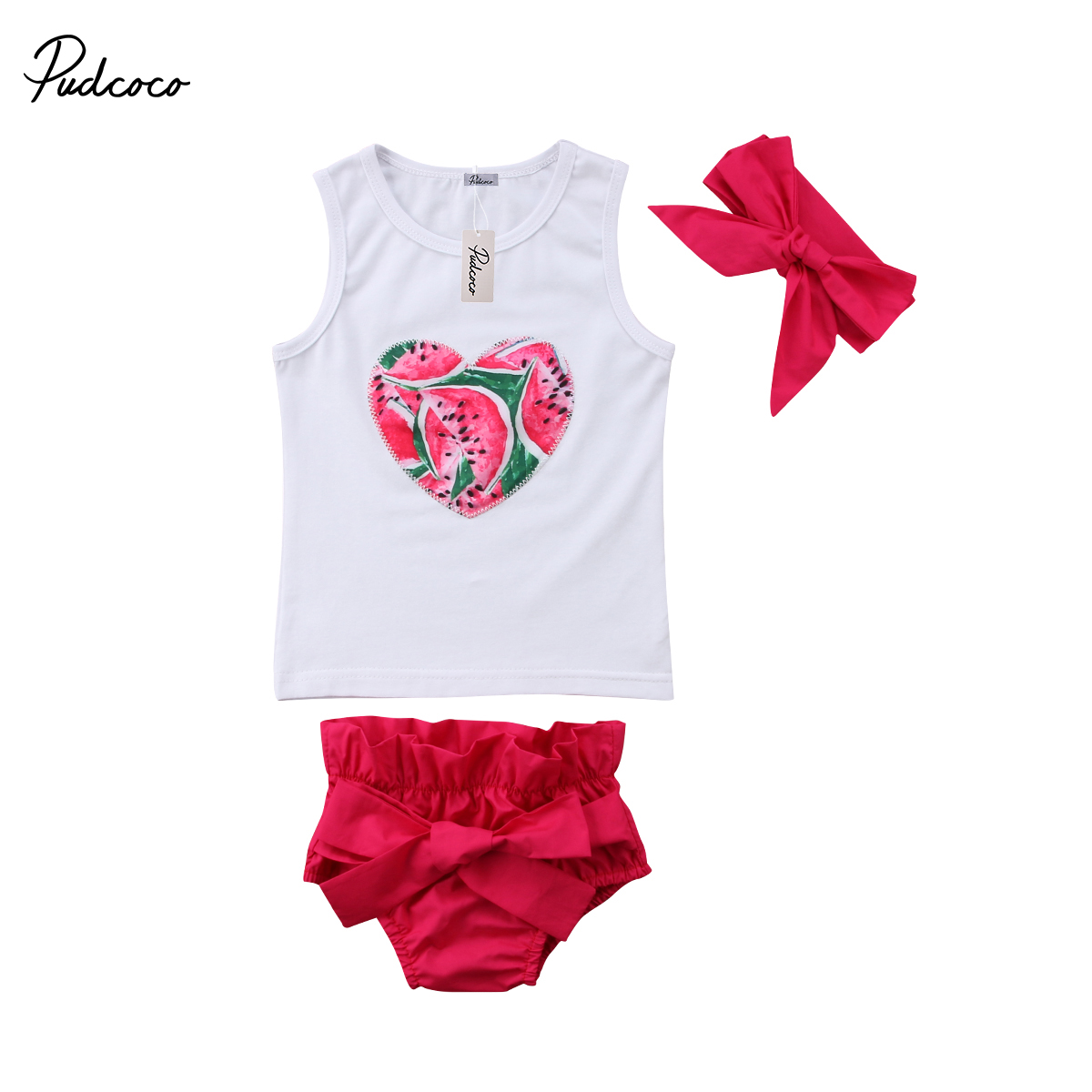 3Pcs Baby Kids Girl Lovely Clothes Set Watermelon Heart Sleeveless Vest Cute Red Belt -8058