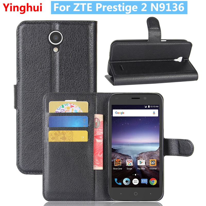 For ZTE Prestige 2 N9136 Flip Wallet Case for ZTE Prestige 2 N9136 Book Style Leather Card Slot Stand Protective Cover Case