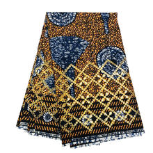6 Yards Super Java African Cotton Wax Fabric with Rhinestone and Embroidery, Pushed Printed Pagne Wax Africa Fabrics for Dress(China)