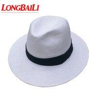 Summer Pure White Straw Fedora Hat For Men Wide Brim Beach Sun Caps Chapeu Panama Free Shipping SDDS067
