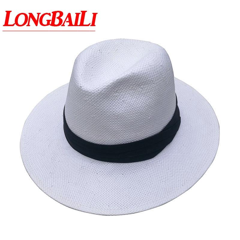 Summer Pure White Straw Fedora Hat For Men Wide Brim Beach Sun Caps Chapeu  Panama Free Shipping SDDS067 e733d453067