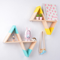 Wooden Triangular Funnel Wall Decorative Shelf Storage rack Hanging decorations For Nursery Kids baby child Room Home Decor 1PC