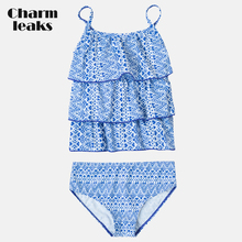 Charmleaks Baby Girls' Bikini Set Swimsuits Geometric Print Kids Adjustable Strap Swimwear Ruffle Bikini Beach Wear