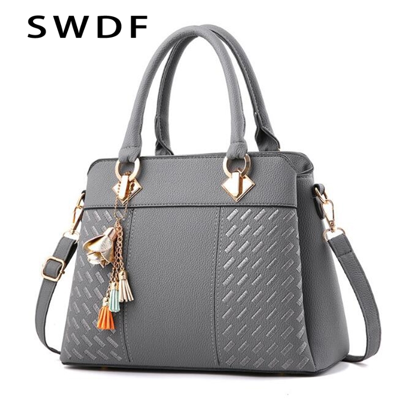 Fashion Women Handbags Tassel PU Leather Totes Bag Top handle Embroidery Crossbody Bag Shoulder Bag Lady Simple Style Hand Bags-in Top-Handle Bags from Luggage & Bags