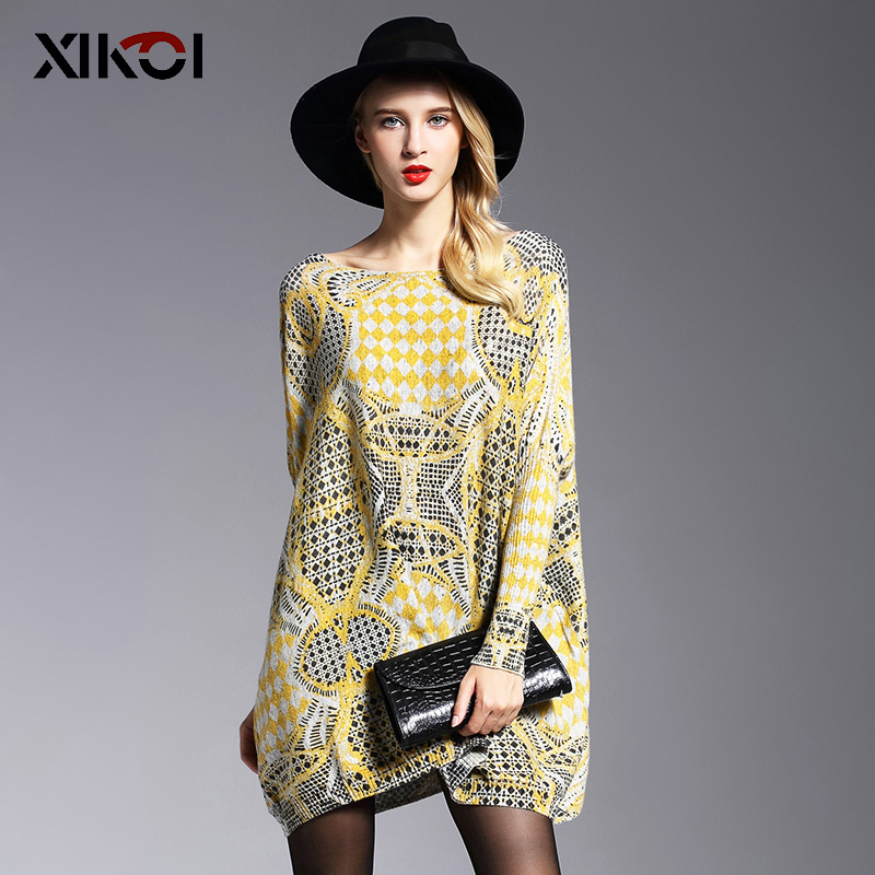 XIKOI  Spring Oversize Women Sweater Long Batwing Sleeve Female Yellow Fluffy Casual Print Women Clothes Pullovers Clothing 2019