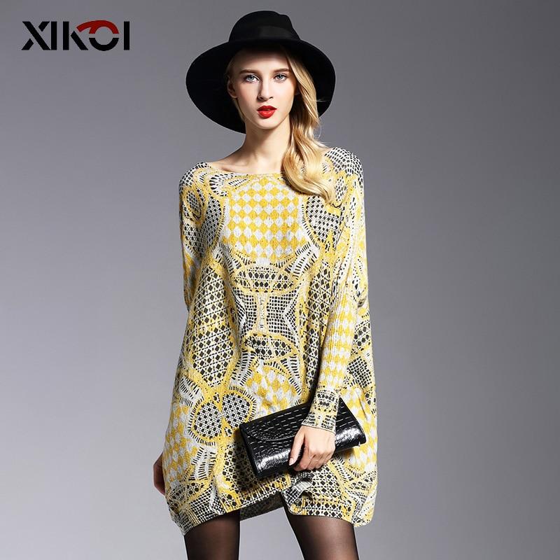 Xikoi frühling oversize frauen pullover lange flügelhülse weiblich gelb flauschigen casual druck frauen kleidung pullover kleidung 2019