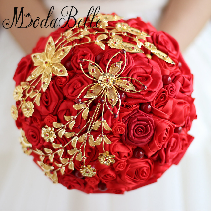 modabelle chinese style red and gold wedding bouquets