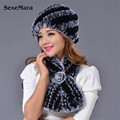 Hat + Bufanda De La Piel de piel = 1 Unidades 2016 Gorros de Invierno Sombrero de Piel para Las Mujeres de punto 100% Rex Sombrero de Piel De Mapache Tamaño Libre de Las Mujeres Ocasionales sombrero