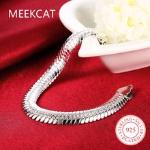 MEEKCAT Men Male Jewelry 10mm chains 21.5cm 925 stamped silver plated Flat snake chains bracelets bangles Pulseiras de Prata(China)