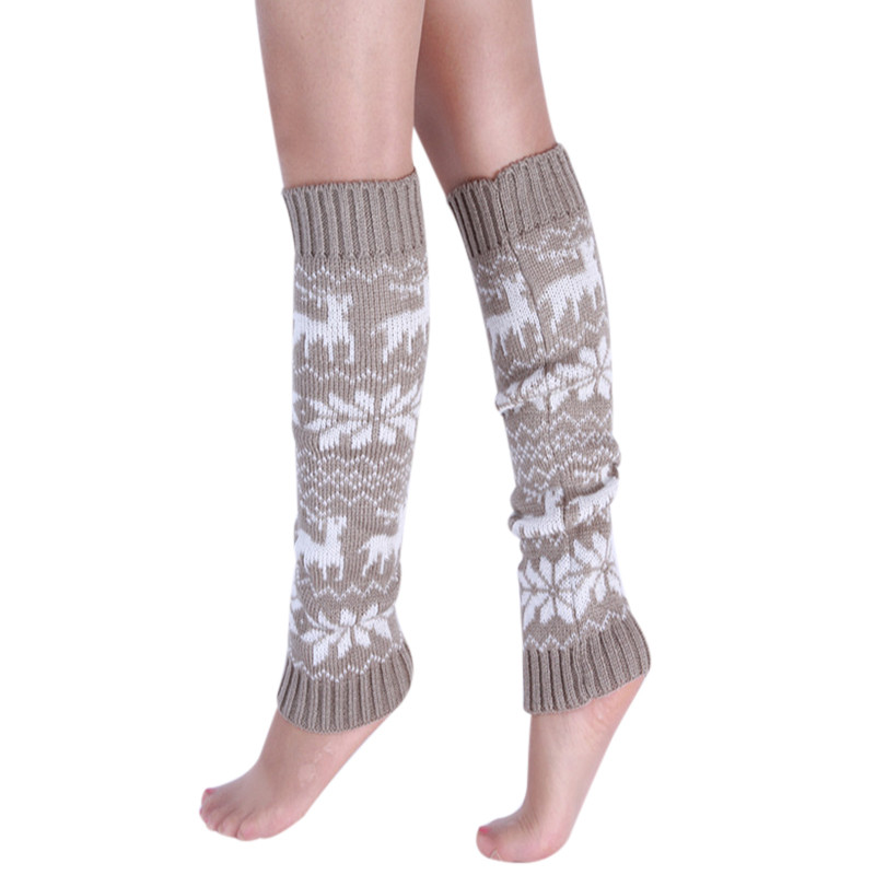 Cotton Knitted Warm Boot Cuffs Socks Legwarmers For Women Printed Ladies Thigh High Leg Warmers 2018 Winter Beenwarmers Vrouwen