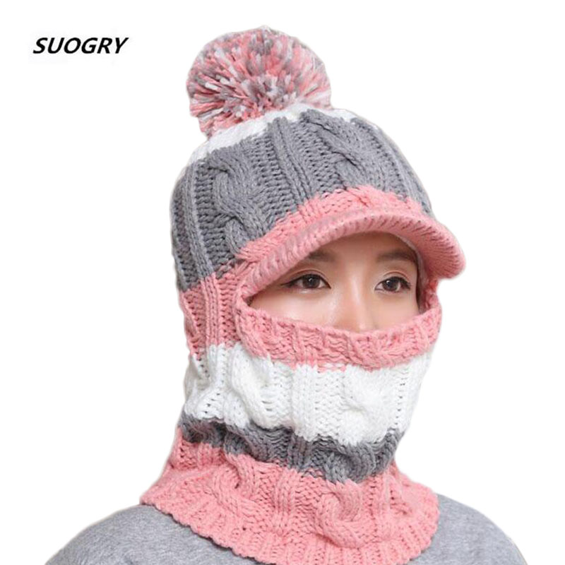 Knit Scarf   Skullies     Beanies   Winter Hats For Women Wool Knitted Balaclava Full Face Mask Cap Plus Velvet Outdoor Sports Warm Hat