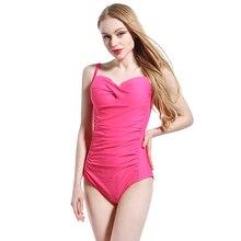 2016 Plus size One Piece Swimsuit Bodysuit Women Swimwear Black Rose Red Blue Pleat Sexy saida de praia sexy beach swimsuit