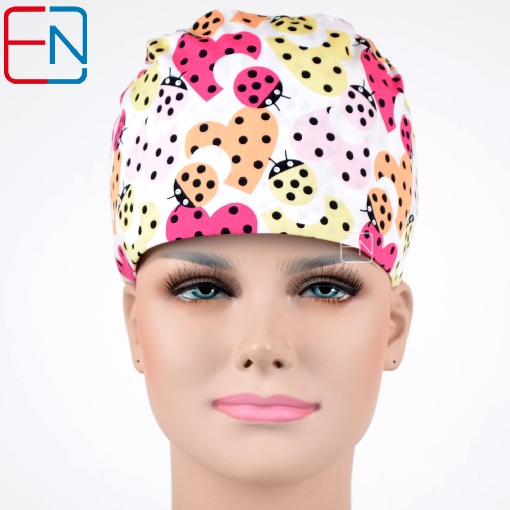 Flowers Pattern Medical Scrub Caps For Long Hair Smart (Blue)