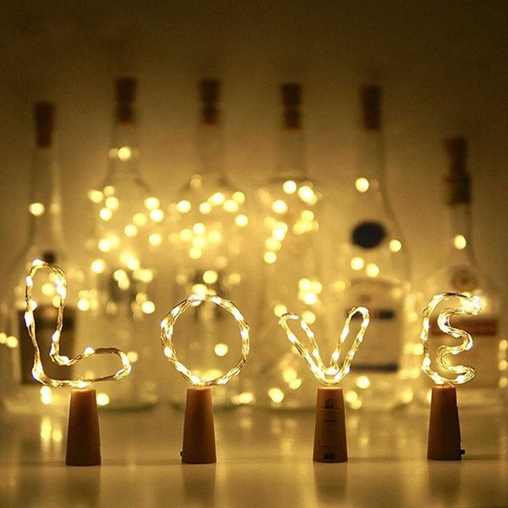 NEW 15/20 LED Wine Bottle Lights Cork Battery Powered Garland DIY Christmas String Lights For Party Halloween Wedding Decoracion