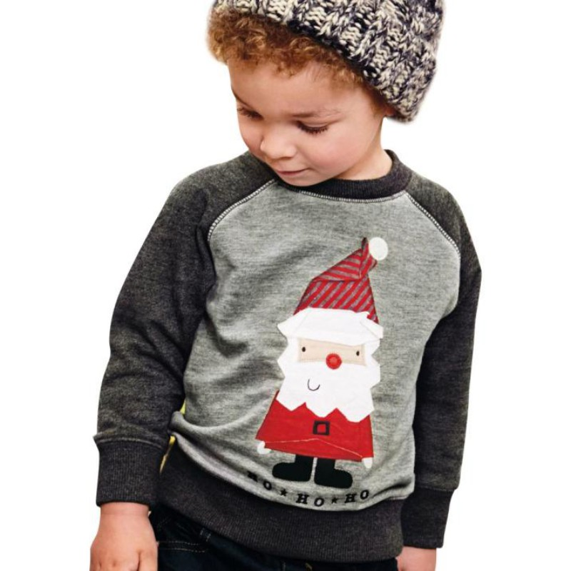 New Autumn Winter Christmas Baby Boys Girls Casual T-shirt Baby Santa Claus Print Shirt Infant Long Sleeve Deep Gray Blouse christmas santa claus high low plus size t shirt