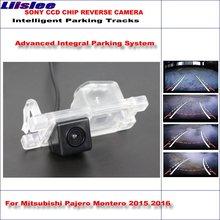 Liislee widok z tyłu samochodu kamera dla Mitsubishi Pajero Montero 2015 2016 inteligentne tory parkingowe NTSC RCA AUX tanie tanio CN (pochodzenie) Plastikowe + Szkło Drutu Pojazd backup kamery ACCESSORIES Z tworzywa sztucznego