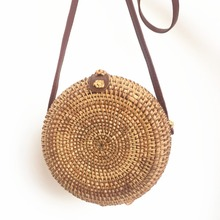 Hand-woven rattan leather buckle straw bag womens shoulder round woven Bohemian beach ins with same paragraph Bali