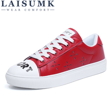 LAISUMK 2019 New Spring Tenis Feminino Lace-Up White Shoes Woman PU Leather Solid Color Female Shoes Casual Women Shoes Sneakers недорого