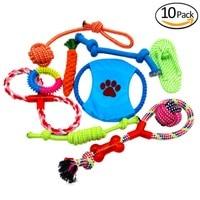 10 pz/6 pz Pet Dog Toys Set Interessante Giocattoli Del Cane di Formazione Cotone Nodo Chew Giocattoli