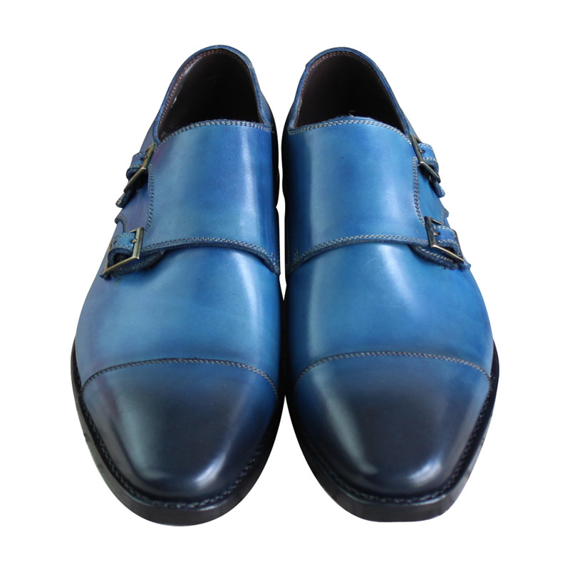 Bespoke Goodyear Welted Blue Genuine Leather Double Buckles Monk - Zapatos de hombre - foto 3
