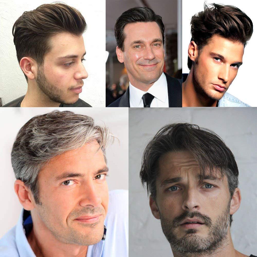 Eversilky натуральный черный смешанный серый парик для мужчин 1B50 супер тонкий моно натуральный волос системы Cutable база волос заменить для мужчи