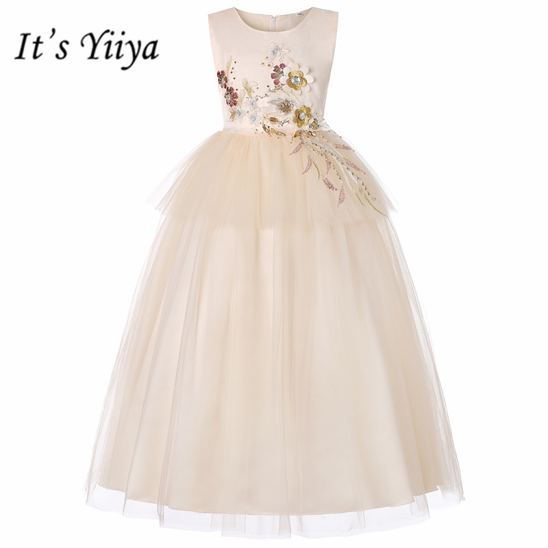 It's YiiYa   Flower     Girl     Dresses   5 Colors Sleeveless O-Neck Floor Length   Girls   Pageant   Dresses   Vestidos De Noches Para Ninas 738